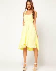 lyst asos midi summer dress bow yellow
