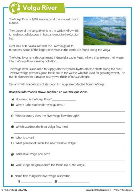 year 6 geography worksheet includes interesting facts volg
