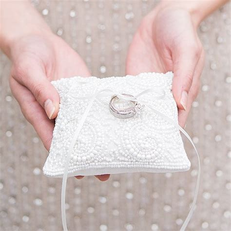 white beaded miniature wedding ring pillow knot shop