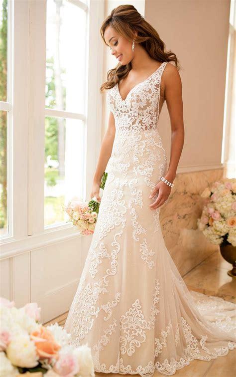 lace wedding dress sheer cutouts stella york wedding