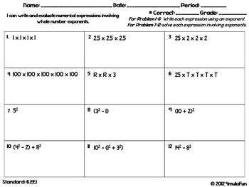 sixth grade math homework sheets expressions equations homework