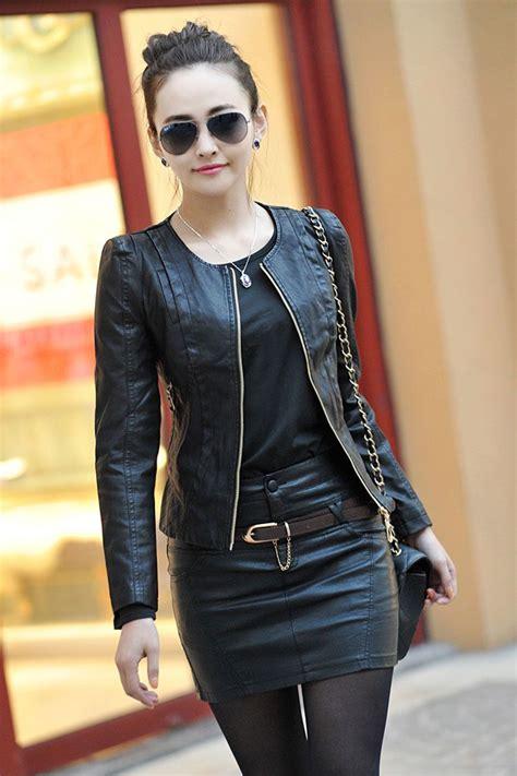 black spring women leather clothing female short design