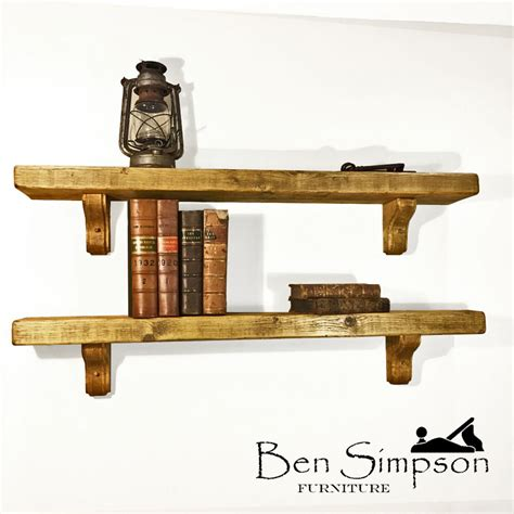 chunky rustic wooden shelf mantel handmade solid joinery
