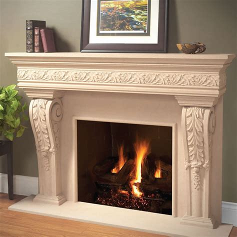 1110 leaf 534 cast stone fireplace mantel stone
