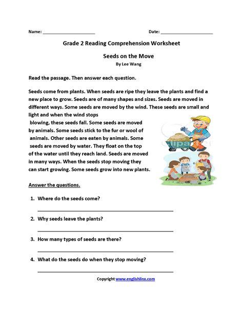 seeds move grade reading worksheets reading comprehension worksheets