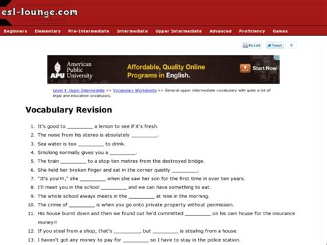 upper intermediate esl vocabulary legal education vocabulary worksheet