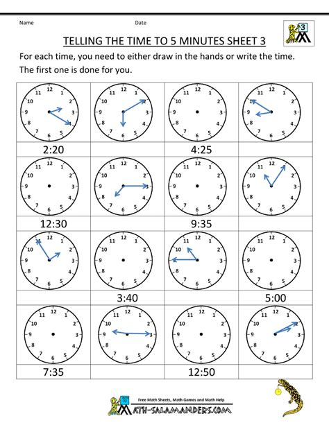 find selection telling time clock worksheets child learn