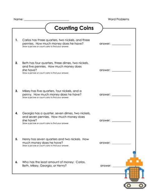 counting coins word problems coins read count
