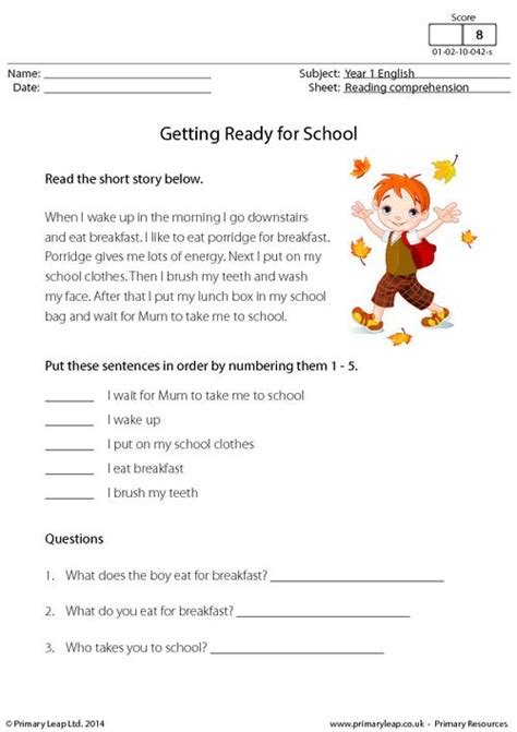 primaryleap reading comprehension ready school worksheet reading