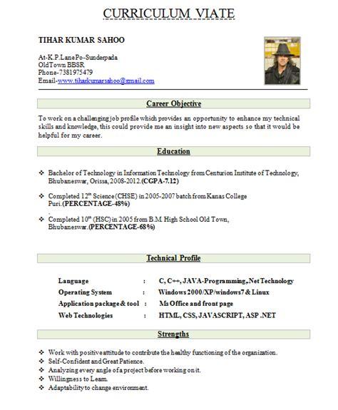 fresher resume format download ms word cv sle