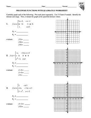 piecewise functions worksheet fill online printable