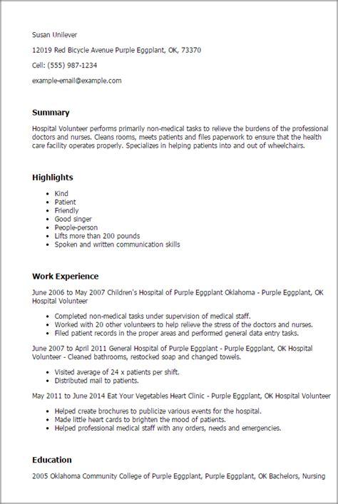professional hospital volunteer templates showcase talent myperfectresume