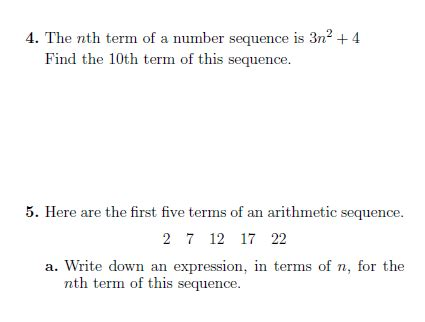 sequences generating sequences finding nth term worksheet solutions