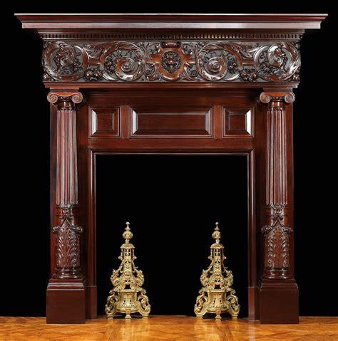 antique italian renaissance carved wood fireplace mantel