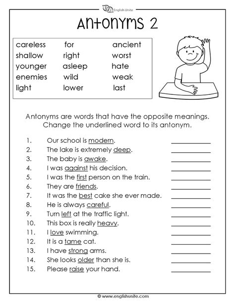 antonyms worksheet 2 english unite