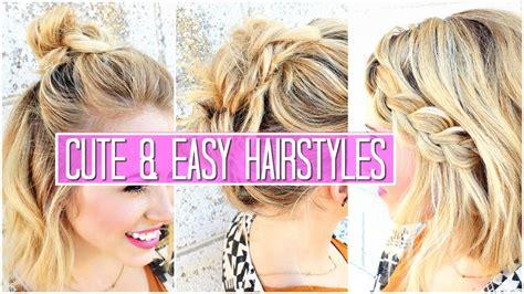 3 easy hairstyles short medium hair tutorial cute