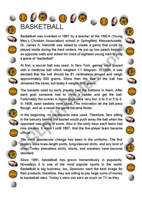 basketball history esl worksheet damary