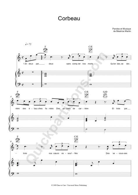 corbeau piano sheet music coeur de pirate digital