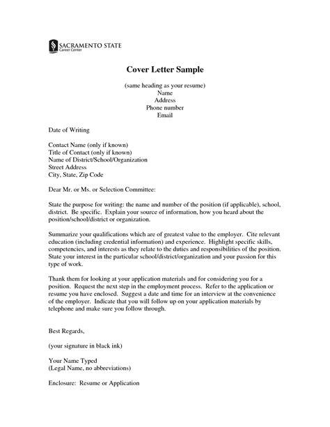cover letters resume cover letter sle heading resume