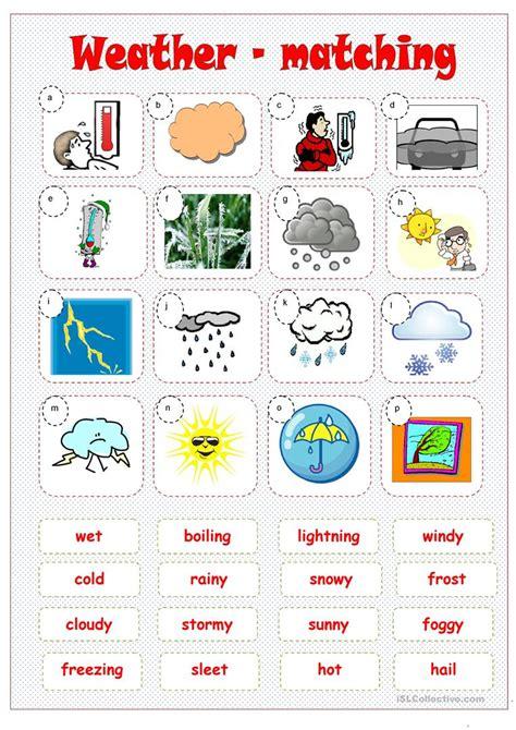 weather matching worksheet free esl printable worksheets teachers