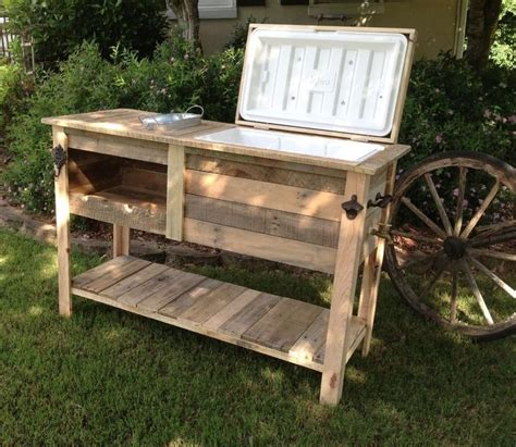 details barn wood cooler console table ice chest