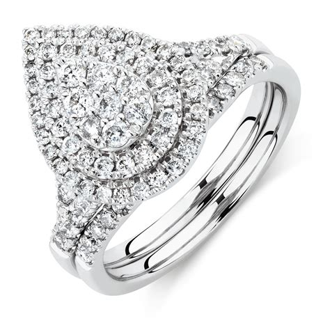 bridal set 1 carat tw diamonds 14ct white