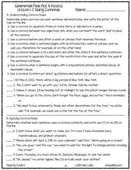 grammar worksheets tests grades 7 8 prep printables