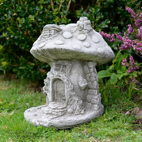 Mushroom House Garden Ornament Cast Stone Home Patio Decor Onefold Uk Ebay.html