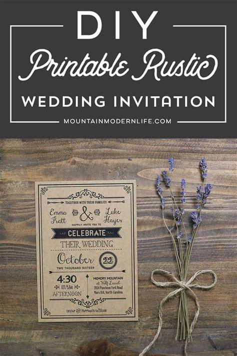 vintage rustic diy wedding invitation template mountainmodernlife