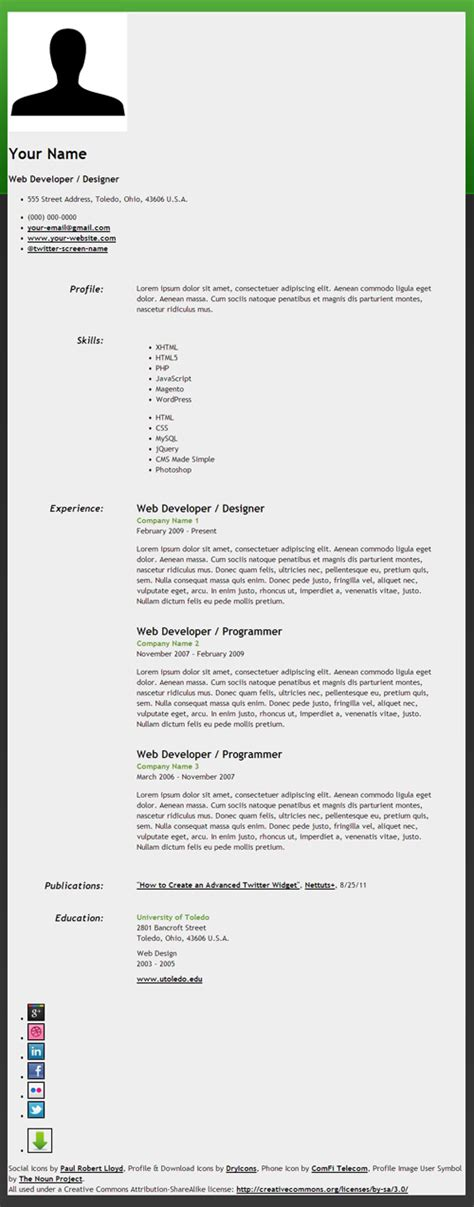 create html5 microdata powered resume