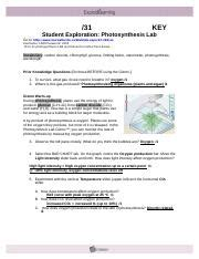 Photosynthesis Lab Gizmo Answers Activity A