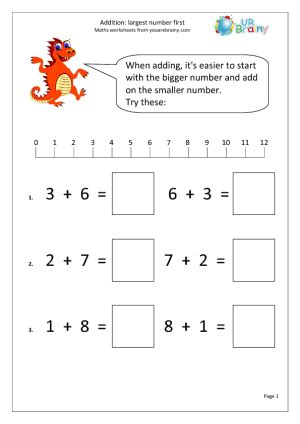 addition largest number addition maths worksheets year 1