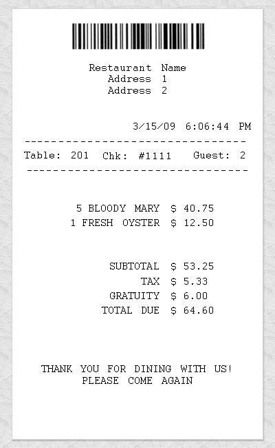 restaurant receipt template word joy studio design gallery