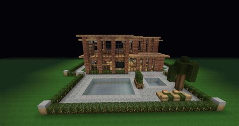 modern brick villa pool backyard minecraft project