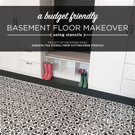 basement floor makeover tile stencil basement flooring stenciled