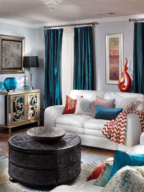 gray living room blue accents hgtv