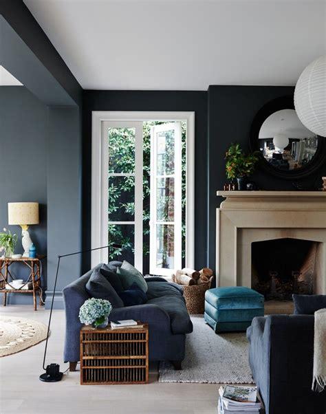 black living room stone fireplace dark grey living