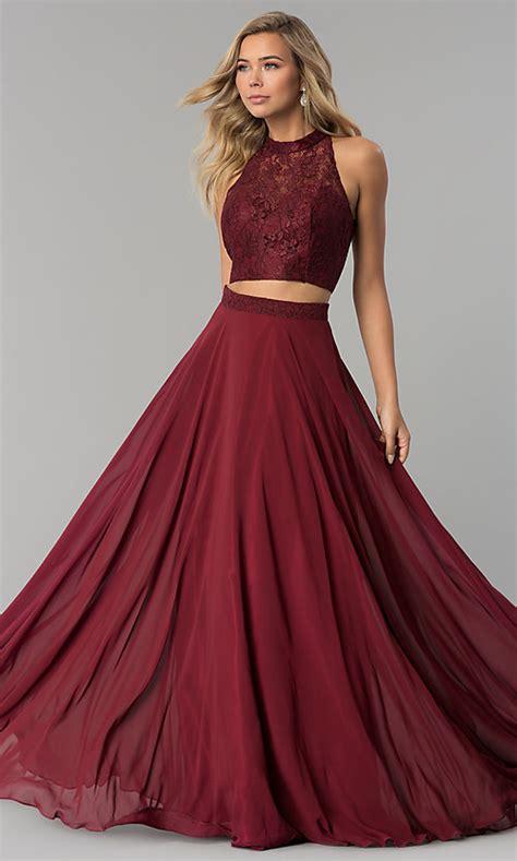 lace top piece chiffon prom dress promgirl