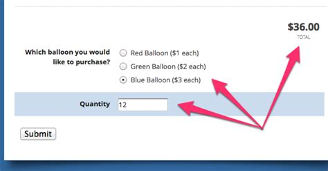 price calculation quantity field html form builder online