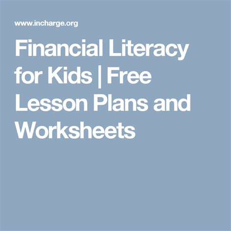 financial literacy kids lesson plans elementary students images
