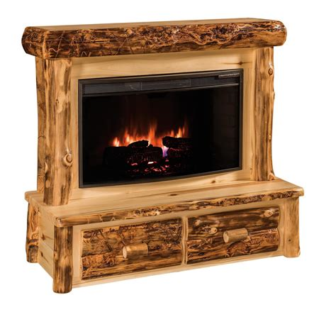 rustic log electric fireplace dutchcrafters amish