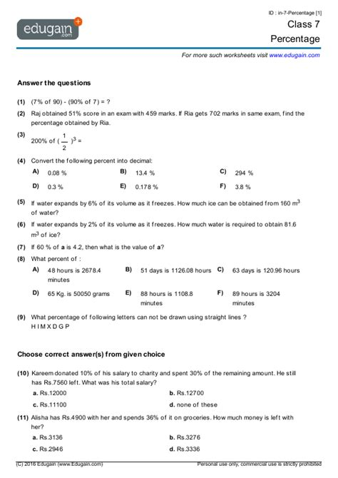grade 7 math worksheets problems percentage edugain canada