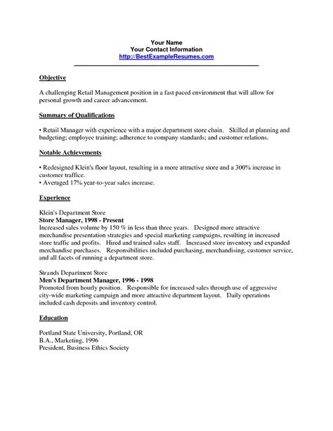 resume objective retail brittney taylor