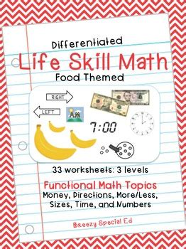 differentiated life skill math pack food special education