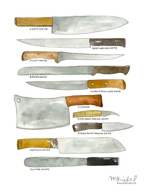 kitchen knives types chef blades diagram etsy