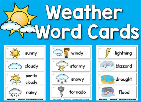 weather picture word cards weather words weather kindergarten
