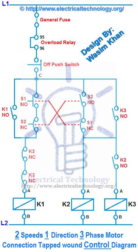 2 speeds 1 direction 3 phase motor power