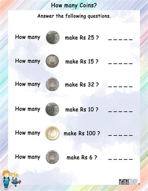 money grade 1 math worksheets page 2