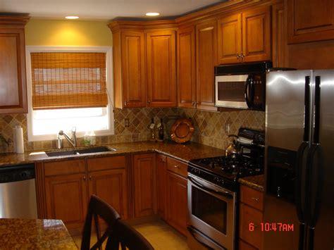 tile backsplash astounding brown oak cabinets breakfast table