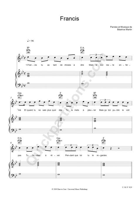francis piano sheet music coeur de pirate digital